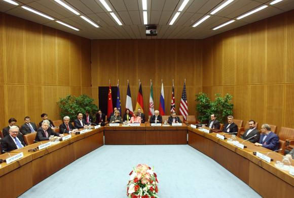 A general view of a meeting with European Union foreign policy chief Ashton and Iranian Foreign Minister Zarif in Vienna
